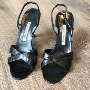 Manolo Blahnik Croc Slingback Sandal